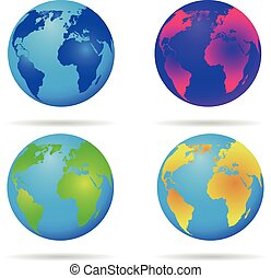 Neon earth globe Blue green  yellow and red Abstract earth background Set of neon globes