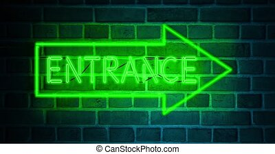 Neon entrance sign above illuminated doorway as welcome to ...