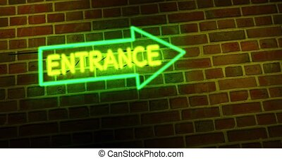 Neon entrance sign shows illuminated doorway as welcome to ...