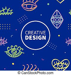 Neon eyes shapes fashion banner template