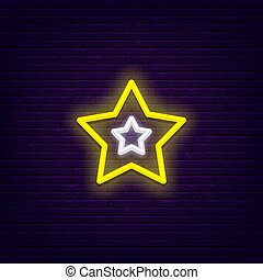 neon, fem, peka, stjärna
