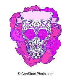 Neon festive sugar skull illustration with doodle patterns, roses and ribbon. The day of the Dead. Los Muertos. The object is separate from the background. Vector template