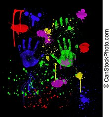 Colorful fingerpainting and handprints on black background