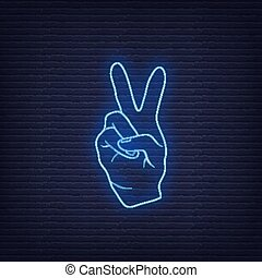 Neon fingers hand signals mean peace. Vector