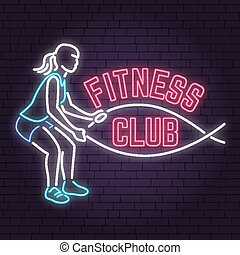 Neon fitness club sign on brick wall background. Vector illustration.