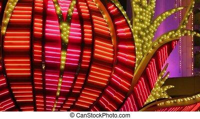 Neon flashing lights of Las Vegas Casino - Red Neon Flashing...