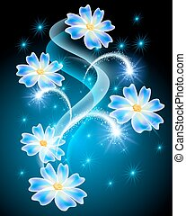 Neon flowers with stars and firework