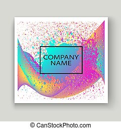 Neon fluid paint splatter artistic template design. Colorful ink explosion texture splash in yellow pink background vector Trendy creative abstract illustration for Sticker Label Banner