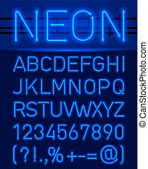 Blue set neon font and symbols isolated on black