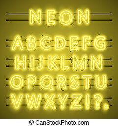 Neon font city text, Night yellow Alphabet, Vector illustration