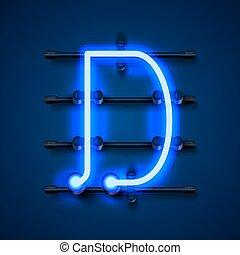 Neon font letter d, art design signboard. Vector ...