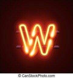 Neon font letter w. Vector illustration