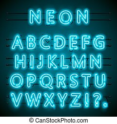 Neon font text. blue english Lamp. Alphabet . Vector illustration