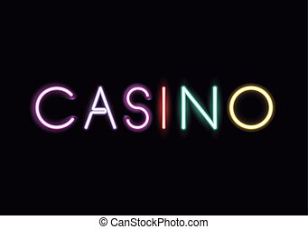 Neon font text design - Casino neon font icon. Text...