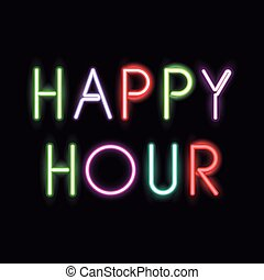 Neon font text design - Happy hour neon font icon. Text ...