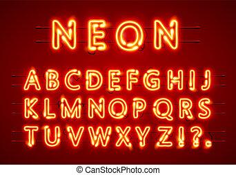Neon font text. Lamp sign. Alphabet.