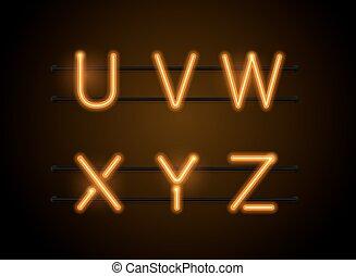 neon font uvwxyz