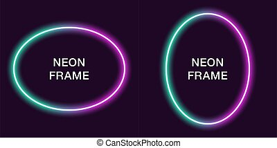 Neon frame in oval shape. Vector template
