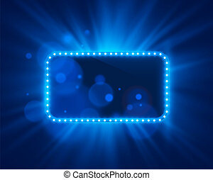 Neon frame light color blue on a bright background. Vector illustration
