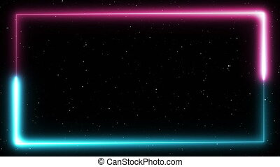 Neon frame on stars background. Blue and pink light is circulating.