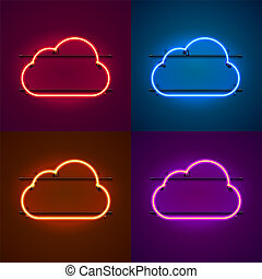 Neon frame sign in the shape of a cloud