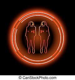 Neon frame with a silhouette of women. Can use for bar, disco, club or your idea. Vector illustration