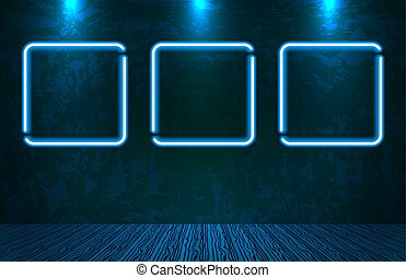 Neon frames on old vintage wall for decoration signboard in retro interior theater, casino, shop, club or bar