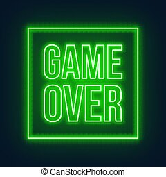Neon game over green sign on dark background.