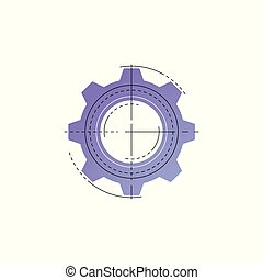 Neon gear vector line icon. - Neon gear vector line icon...
