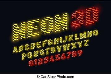 Neon glow 3d font