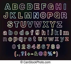 Neon glow alphabet set