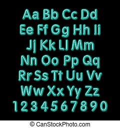 Neon glow alphabet. Vector. design, party, retro, 3d, art, font,