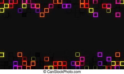 Neon glow extruded cubes 3D render loop - Neon glow extruded...