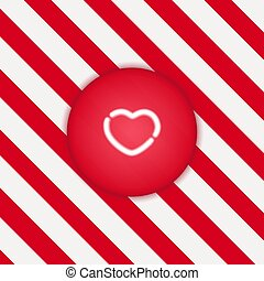 Neon glowing heart in the shape of a button, on a white-red background with stripes. Vector illustration
