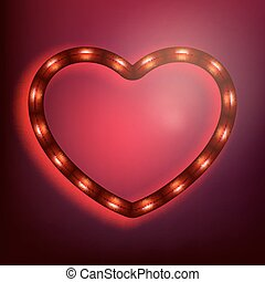 Neon glowing heart on red background. EPS 10