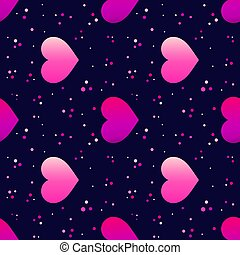 Neon glowing hearts seamless dark pattern.