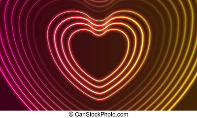 Neon glowing laser heart shape video animation