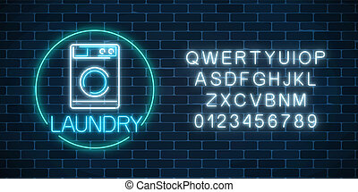 Neon glowing laundry signboard in circle frame with alphabet. Illuminated self-service washhouse sign