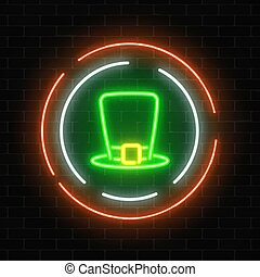 Neon glowing leprechaun hat sign on a dark brick wall background.