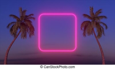 Neon glowing rectangle frame appears between two palm trees....