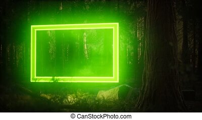 Neon glowing rectangle frame in the night forest