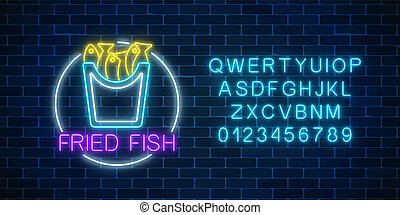 Neon glowing sign of fried fish in circle frame with alphabet. Fastfood light billboard symbol.