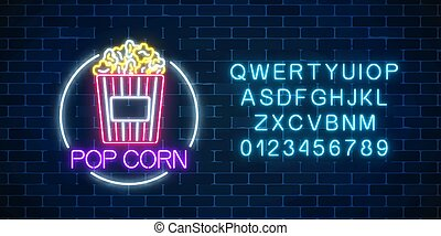Neon glowing sign of pop corn in circle frame with alphabet. Fastfood light billboard symbol.