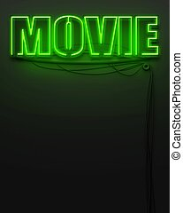 Neon glowing sign with word Movie, copyspace