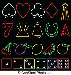 neon, gluecksspiel, symbole