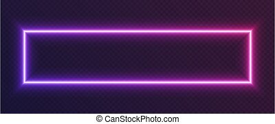 Neon gradient rectangular frame, blue-pink glowing border isolated on a dark background. Colorful night banner.