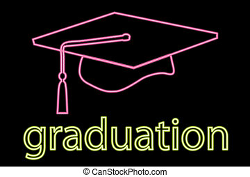 Neon graduation cap symbol - illustration of neon graduation...
