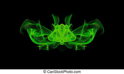 Neon green abstract wave lines