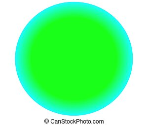 neon green blue circle ball on white background