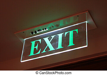 Neon Green Exit Sign